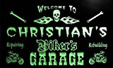 qu235-g Christian's Biker's Garage Motorcycle Repair Beer Neon Bar Sign