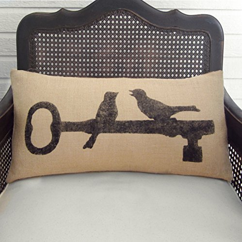 Love Birds Perched on Skeleton Key - Burlap Pillow Lumbar - 12x24 - Insert Included
