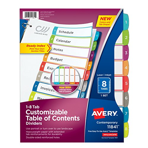 Avery 8-Tab Dividers for a 3 Ring Binders, Customizable Table of Contents, Multicolor Tabs, 1 Set (11841) (52 Week Dividers)