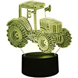 Optical Illusion 3D Tractor Night Light 7 Colors Changing USB Power Touch Switch Decor Lamp LED Table Desk Lamp Brithday Children Kids Christmas Xmas Gift …