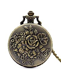 Bronze Charm Flower Quartz Pocket Watch 30cm Chain, Gift for Men, Pocket Watch for Men with Chain - Ahmedy Pocket Watch