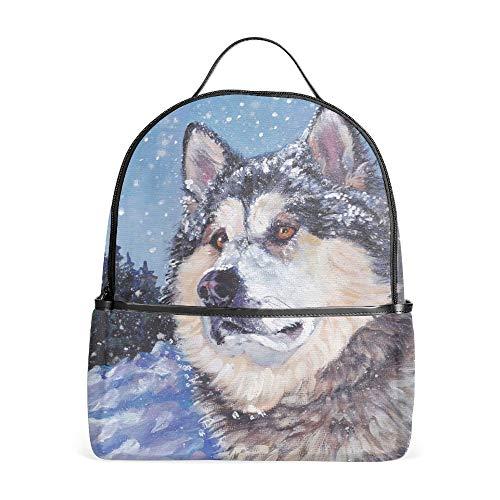 Alaskan Malamute Dog School Rucksack College Bookbag Student Travel Backpack