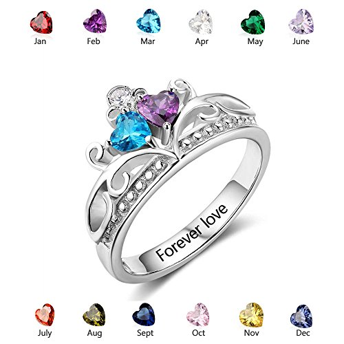 Personalized Crown Rings Silver - Couples Simulate Birthstone Name Rings - Claddagh Promise Rings (7)