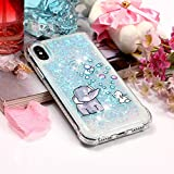 DAMONDY iPhone X Case, 3D Cute Animal Pattern Bling Liquid Glitter Hybrid Heavy Duty Shockproof Bumper Floating Quicksand Diamond Flowing Soft TPU Case for iPhone X-Elephant