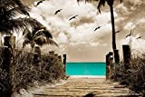 Paradise Walk - Aqua with Sepia or Gray Background, 20x30 Canvas Stretched around a wooden Frame Seascape Ocean Pictures on Canvas. Wall art for Living Room Bedroom Beach (20x30, Sepia Background)