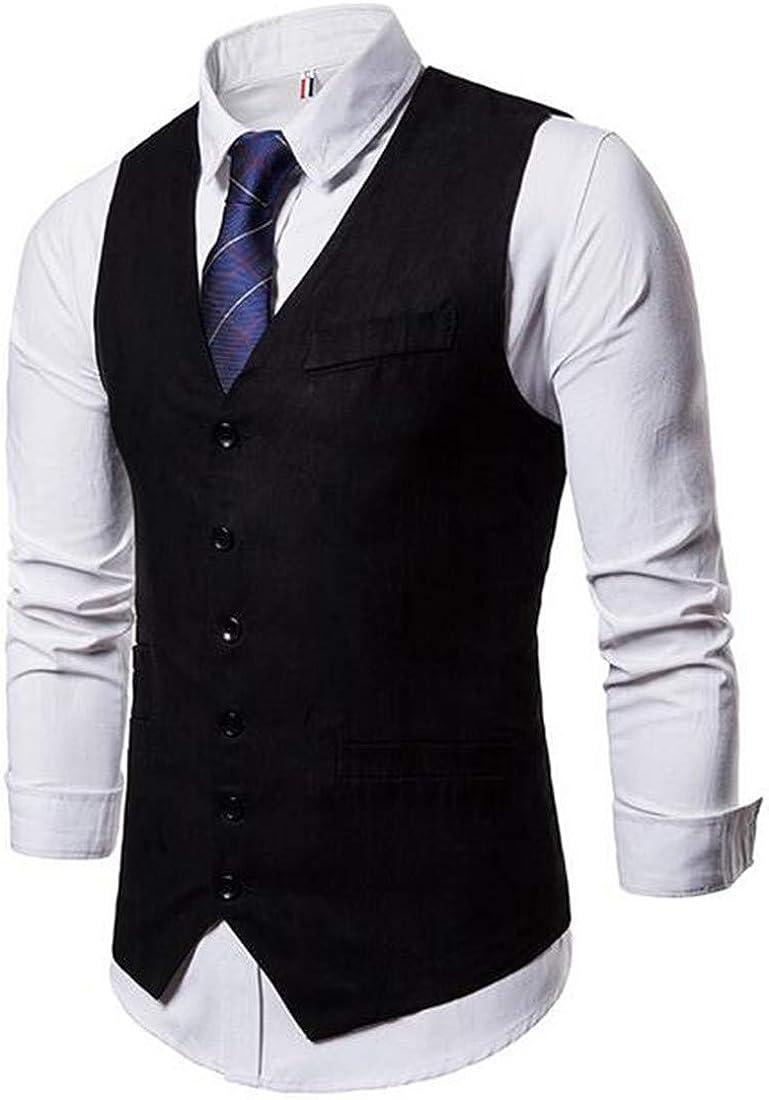 CRYYU Men Simple Single-Breasted Suede Design Casual Waistcoat Business Suit Vest