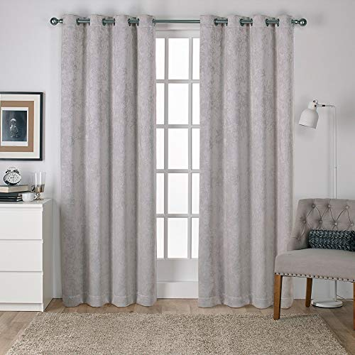 (Exclusive Home Antique Shantung Twill Woven Blackout Grommet Top Curtain Panel Pair, Silver, 52x84)