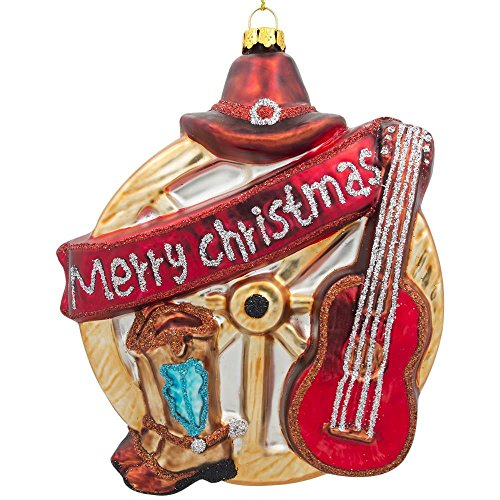 Cowboy Boot Christmas Ornament - Guitar, Cowboy Boots, Hat and a Wheel Western Glass Christmas Ornament 5 Inches