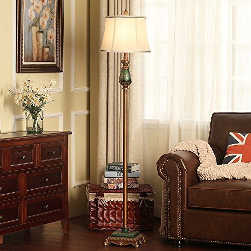 LampRight Classic European Country Style Hand Painted Retro Floor Lamp 64 inch - Traditional Elegant Delicate Resin Base, Unique Artistic Hand Painted Body and Original Fashion Fabric Lampshade by Lamp Right (Image #2)