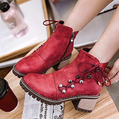 Foot Boots Charm Up Zipper Heel Ankle Womens Western Mid Lace Red Chunky OqvdvwA