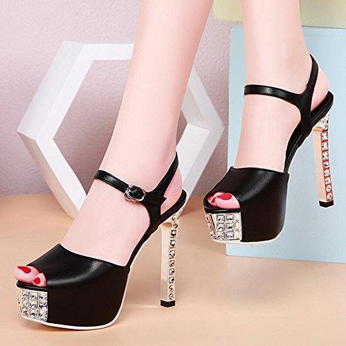 Caviglia Romano colore Tacco Toe Sandali Uk3 Nero Cjc Scarpe Bianco Eu35 Alla Formato Della Cinghia Signora Strass Open Alto wqHH0RAt