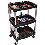 Best Selling Cheap 3-Shelf Mechanics Lightweight Tool Cart Organizer With Wheels- This Super Feather-Weight (12 lbs) Workhorse Offers 44 LB Capacity Per Tray- Four Wheels (Two Locking) Aluminum Frame
