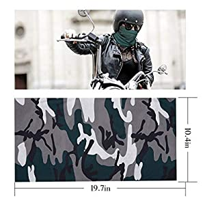 PAMASE 3 Pcs Camo Hunting Face Mask, Camouflage Microfiber Sun UV Dust Wind Protection Face Neck Gaiter Headwear for Motorcycle Hiking Cycling Ski Snowboard Fishing Running Workout(Dark)