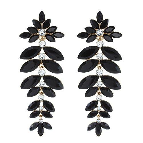(Floral Leaf Drop Crystal Burst Dangle Women's Statement Earrings in Black)