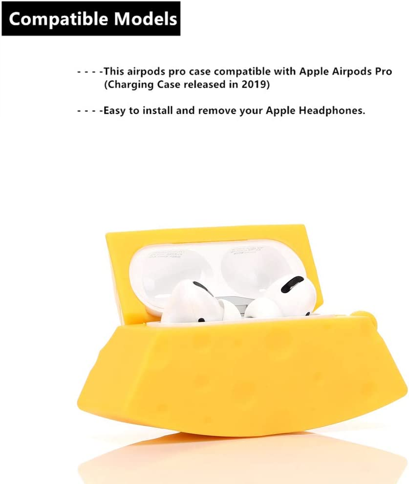 ZAHIUS Airpods Pro Silicone Case Funny Cute Cover Compatible for Apple Airpods Pro Designed for Kids Girl and Boys 3D Cartoon Pattern Cheese