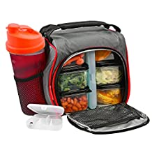 Thermal Insulated Lunch Bag Bento Box - Kit with 6 Leakproof Food Containers + 28oz Drink Bottle with Shaker + Ice Pack + Case for Pills - Compact and Lightweight Cooler for School, Work, Picnic & Gym