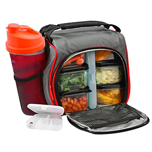 Thermal Insulated Lunch Bag Bento Box - Kit with 6 Leakproof Food Containers + 28oz Drink Bottle with Shaker + Ice Pack + Case for Pills – Compact and Lightweight Cooler for School, Work, Picnic & G