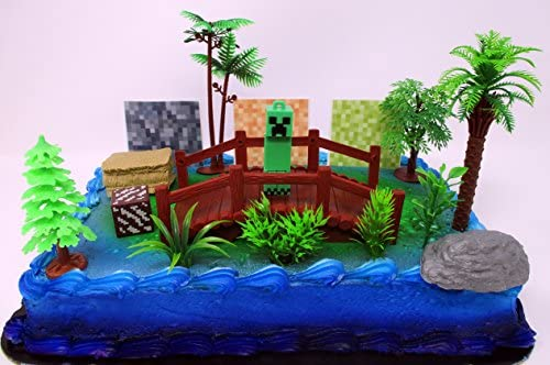 Awesome Minecraft Creeper Themed Birthday Cake Topper Set Featuring Personalised Birthday Cards Paralily Jamesorg