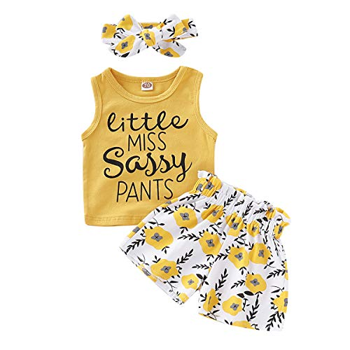 Toddler Baby Girl Summer Outfit Little Miss Letter Print Sleeveless Tank Tops Floral Shorts Set with Headband Yellow