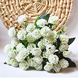 6 Branches 30 Flower Heads Small Lilac Silk Artificial Flowers Gifts-White 4