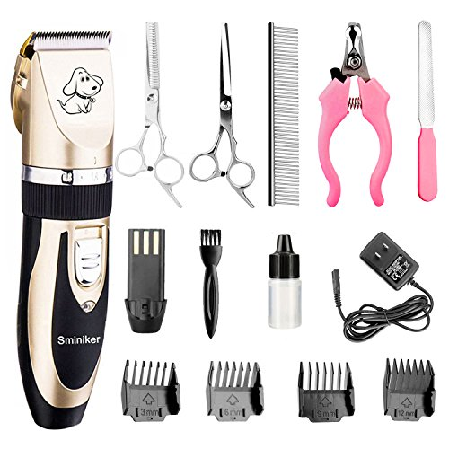 Kit Animal Grooming (Sminiker Professional Rechargeable Cordless Dogs and Cats Grooming Clippers - Professional Pet Hair Clippers with Comb Guides for Dogs Cats and Other House Animals,Pet Grooming Kit)