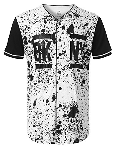 (URBANCREWS Mens Hipster Hip Hop NY Splatter Baseball Jersey T-Shirt White, M)