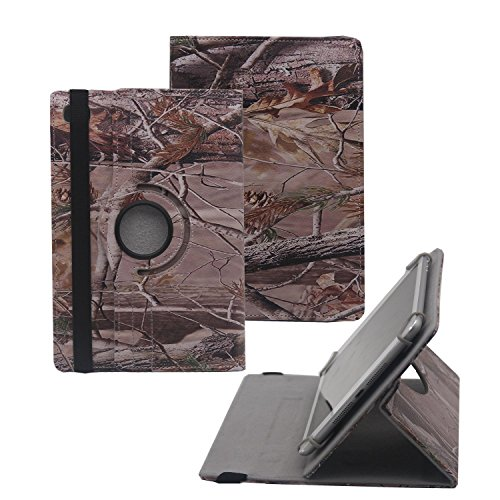 """Tsmine Samsung Galaxy Tab S2 VE 9.7"""" Rotating Camo Case - Universal Protective Camouflage Oak Branch Printed Rotary Leather Case Stand Cover for Samsung Galaxy Tab S2 VE, Branches"""