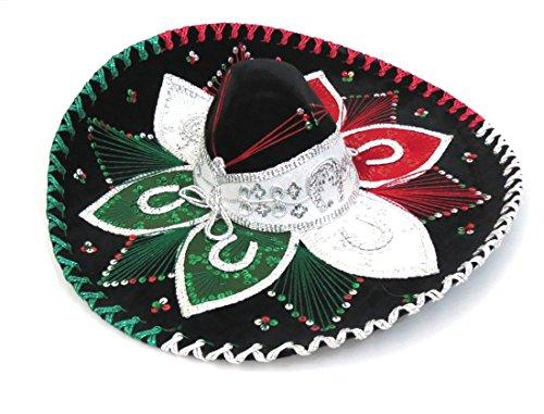 Sombrero Charro (Adult Premium Charro Sombrero Mariachi Hat 3 Colors w/ 3 color trim)