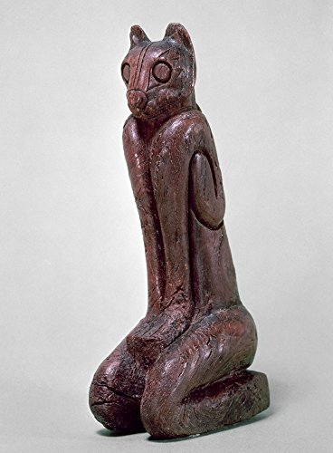 Key Dwellers Cat Figure Nseated Cat Figure Carved Wood Sculpture From The Key Dweller Culture Of Key Marco Florida C1000-1600 AD Height 152 Cm Poster Print by (18 x 24)