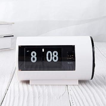 Li-lamp Auto Flip Clock File Down Page Relojes Reloj de Alarma en Formato de Pantalla para decoración de Oficina en casa Reloj pequeño (Color : Re): ...