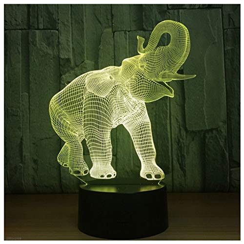 Novelty Lamp, Night Light 3D Child USB Charging Optical Illusion Elephant LED Lamp, Color Change 5 Color for Bedroom, Kids Room, Coffee Table, Christmas Decoration and Lover Gift,Ambient Light by LIX-XYD (Image #2)