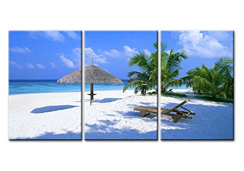 (So Crazy Art - Canvas Print Wall Art Painting For Home Decor,Maldives Langscape Of Tropical Beach With Blue Sea Palm Trees And White Sandy 3 Pieces Panel Paintings Modern Giclee Stretched And Framed Artwork The Picture For Living Room Decoration,Seascape Pictures Photo Prints On Canvas)