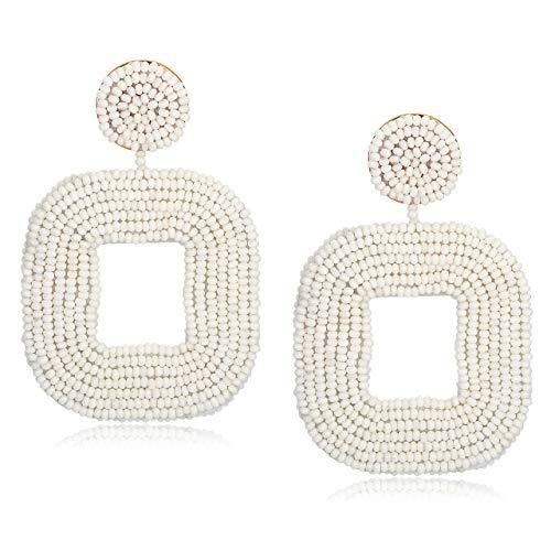 (ELEARD Beaded Earrings Handmade Wire Wrapped Seed Beaded Square Earrings Statement Beaded Hoop Earrings for Women (White) )
