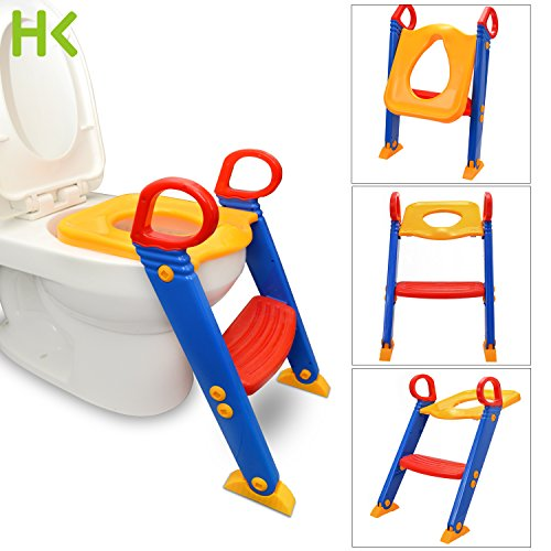 - Anti Slip Potty Training Ladder Step Up Seat Toilet Contoured Cushion Training Step Stool for Kids and Toddlers