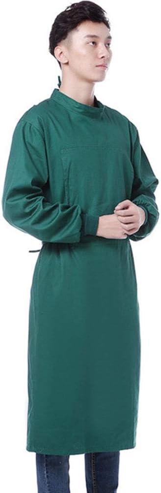 Bycloth Uniforme quirúrgico Reutilizable, Ropa de Trabajo Uniforme Médico de Hospital quirúrgico Aislamiento Vestido con Capas Protectoras elástica del Manguito de algodón con Manga Larga