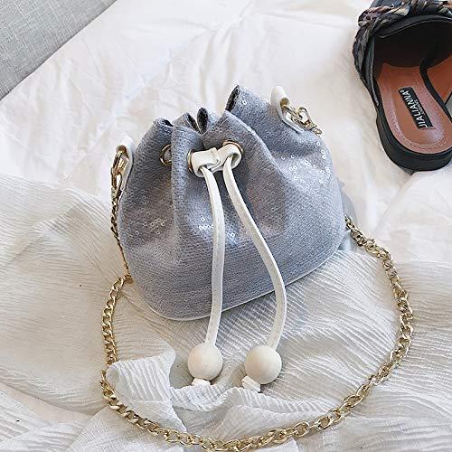 Sac Mini Gris WSLMHH Sauvage Seau marée Femme bandoulière chaîne épaule en Sequins été Version de Mode Petit coréenne Sac la 8BqB5x