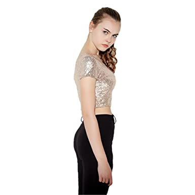 6439969e44450a Celewe Girl s Glitter Sequins Backless Short Sleeve T-Shirt Crop Tops at  Amazon Women s Clothing store