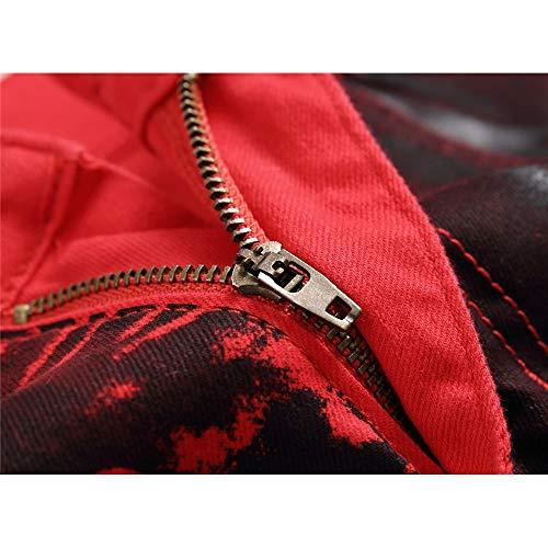Décontracté couleur Rouge Taille Pour Droits Pantalon À Jeans Homme Hommes 31 Rouge Stretch Décontractés Imprimé Crâne vpxFPZq4n