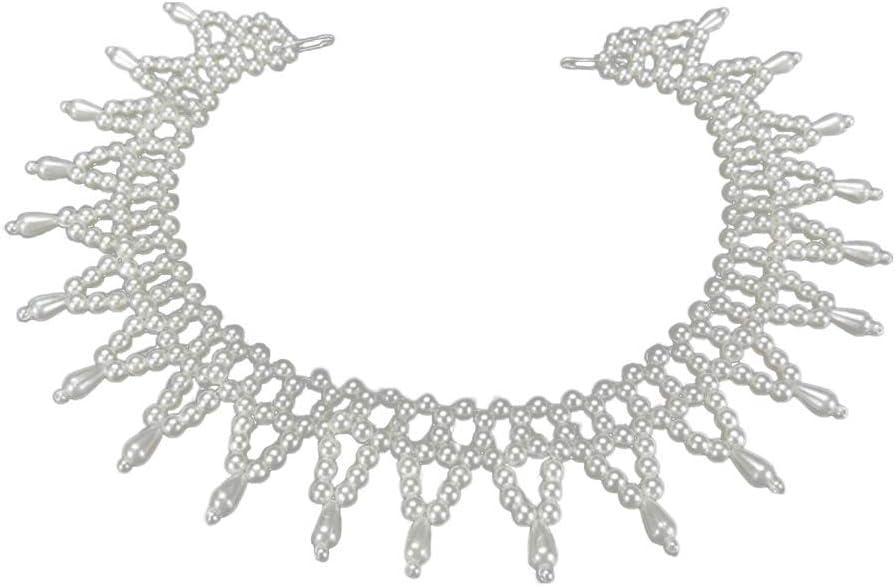 Folewr-8 - Collar de Camisa de imitación con Perlas Falsas para Mujer 2