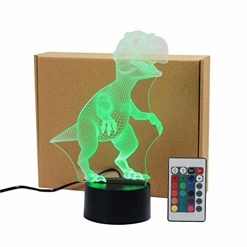 Tyrannosaurus Rex Acrylic 3D Visual IR Remote Touch Table Lights Colorful Home Art Decor Child's USB LED Desk Lamps TD114 by AUCD