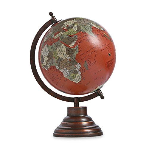 Decorated Rotating Globe Iron Stand Word Map Globe Antique Plastic Rotating Globe Decor Table Top Globe ()
