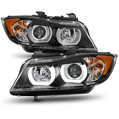 For 2006-2008 BMW E90 3-Series 4 Doors Sedan Wagon Black Halogen Type Dual U-Halo Ring LED Projector Headlights