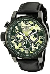 Invicta Men's 'I-Force' Quartz Stainless Steel and Black Leather Casual Watch (Model: 20544)