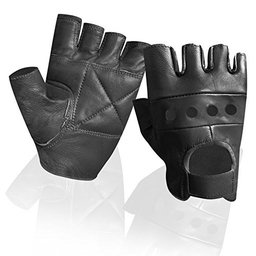 Wheelchair Finger Less Biker Punk Goth Driving Cycling Gloves Real Leather Gym