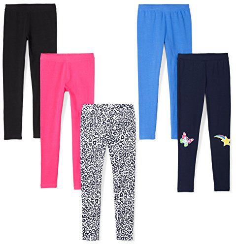 Amazon Brand - Spotted Zebra Girls' Big Kid 5-Pack Leggings, Hearts, X-Large (12)]()