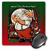 3dRose Sandy Mertens Vintage Christmas Designs - Santa Claus Putting on the Cologne Getting Ready for Christmas Eve - MousePad (mp_172736_1)