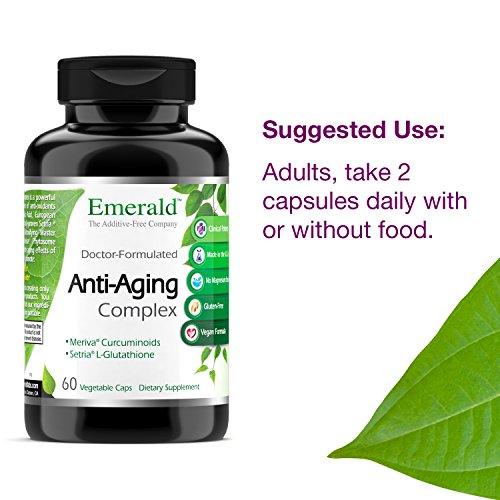 51WBI0087bL - Anti-Aging Complex - with L-Glutathione, Resveratrol, CoQ10, R-Alpha Lipoic Acid, Meriva, Pomegranate, & More - Emerald Laboratories (Rainforest) - 60 Vegetable Capsules