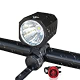 Whaitfire Super Bright Bicycle Light Set, Cree XM-L2 LED 1200 Lumen Waterproof Bike Headlight, Front Lamp Flashlight and Taillight for Cycling Safety