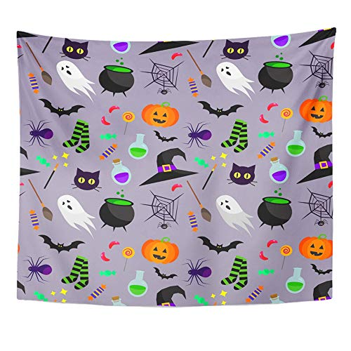 Emvency Tapestry Artwork Wall Hanging Blue Cute Halloween Pattern Green Spooky Sweet Treat Trick Autumn Bat Black 50x60 Inches Tapestries Mattress Tablecloth Curtain Home Decor Print -