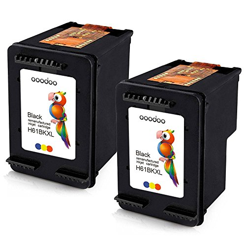 AOODOO Remanufactured HP 61XL Ink Cartridge ( 2 Black ) Show Accurate Ink Level Used in HP Deskjet 2050 2510 2512 2540 2542 3054 3510 Envy 4500 4502 5530 4630 Printer